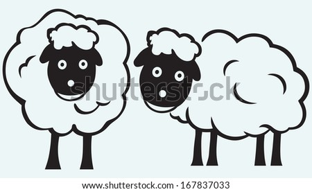 Cartoon sheep isolated on blue batskground. Raster version - stock photo