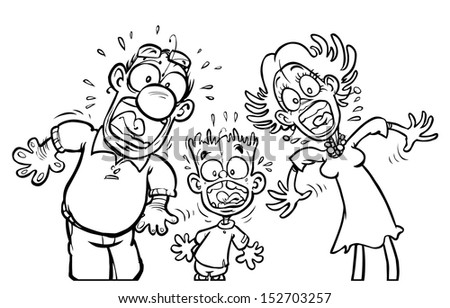 Cartoon shocked Family. Outline version. - stock photo