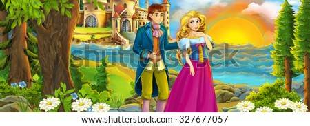 Cartoon shore with castle and the princess - illustration for the children - stock photo