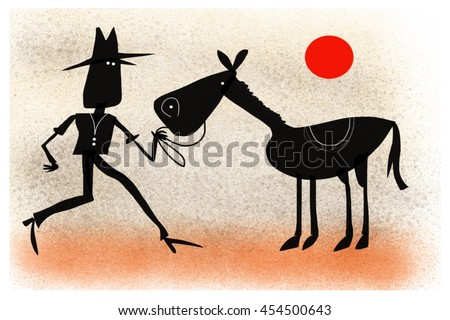 Cartoon silhouette of Australian stock man with horse with red sun background - stock photo