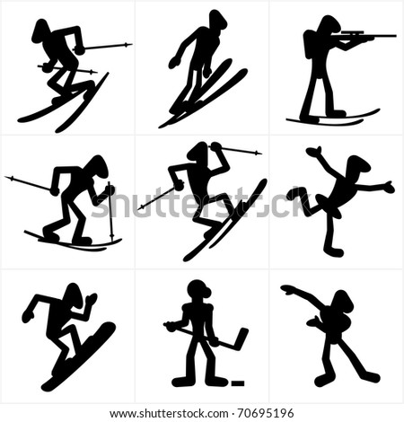 Cartoon silhouettes of winter olympic games sports disciplines - stock photo