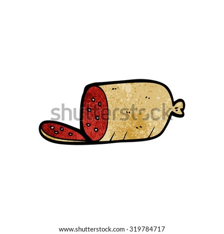 cartoon sliced sausage - stock photo
