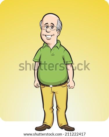 cartoon smiling bald man - stock photo