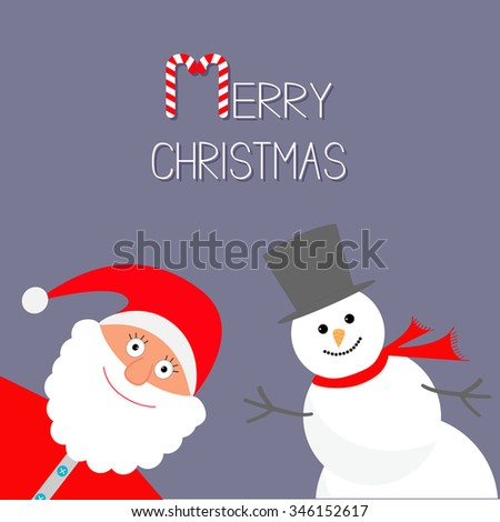 Cartoon Snowman and Santa Claus. Violet background. Candy cane. Merry Christmas card. Flat design - stock photo