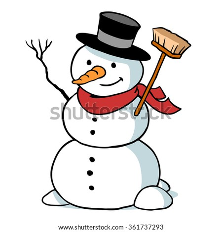 Cartoon snowman character with hat and carrot as a nose - stock photo