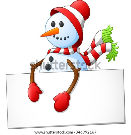 cartoon snowman holding blank sign - stock photo