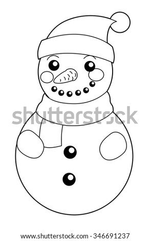 Cartoon snowman - isolated - coloring page - illustration for the children - stock photo