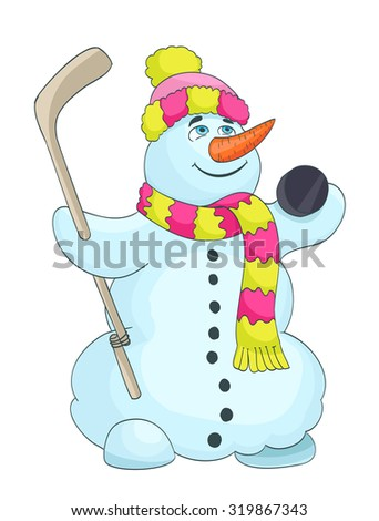 cartoon snowman with scarf, hat, and hockey stick. raster version - stock photo