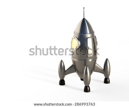 Cartoon Space Rocket - White Background - stock photo