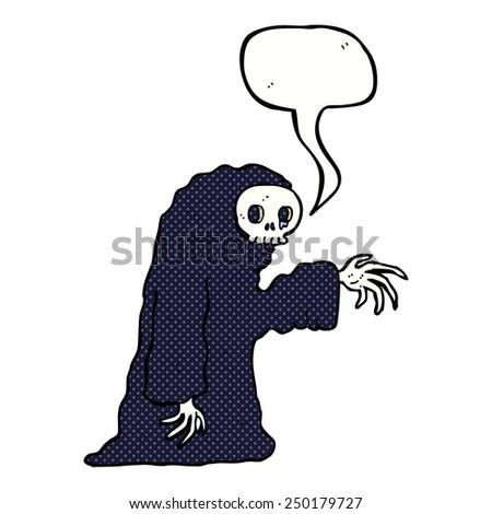 cartoon spooky halloween costume with speech bubble - stock photo