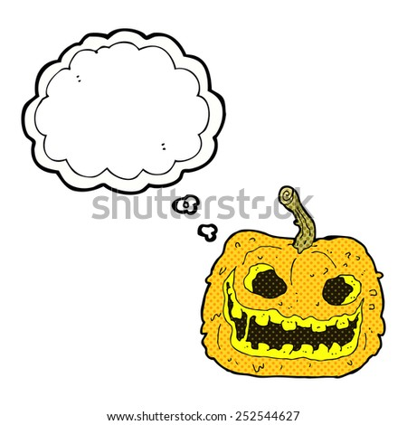 cartoon spooky pumpkin with thought bubble - stock photo