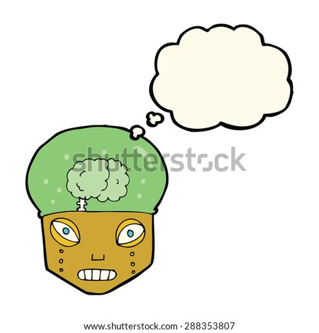 cartoon spooky robot head with thought bubble - stock photo