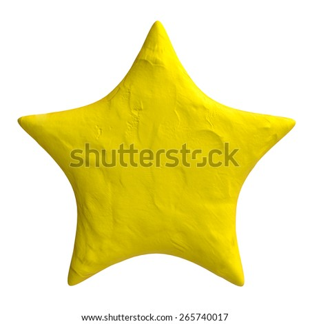 Cartoon star of plasticine or clay - stock photo