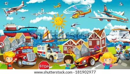 Cartoon street - illustration for the children - stock photo
