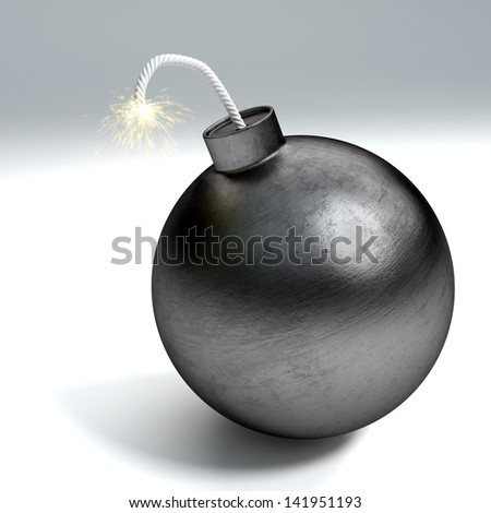 Cartoon style bomb with  burning fuse - stock photo
