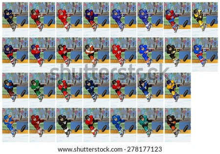 Cartoon-style illustration: set of a shooting hockey player wearing different uniforms - stock photo
