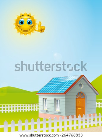 Cartoon sun character over a  house with solar panels on the roof - stock photo