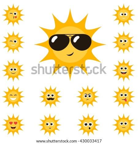 cartoon sun set with funny smiley faces.  - stock photo