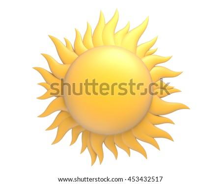 cartoon sun with beams 3d illustration - stock photo