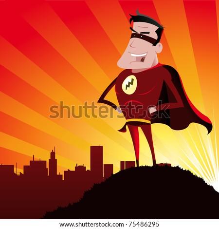 Cartoon super hero/ Illustration of a funny super hero - stock photo