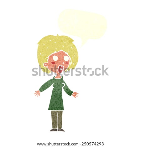 cartoon surprised woman with speech bubble - stock photo