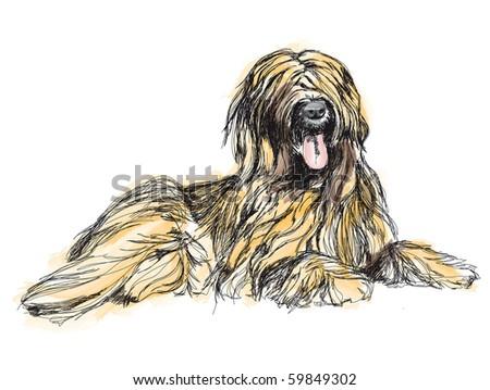 Cartoon Tibetan Terrier. - stock photo