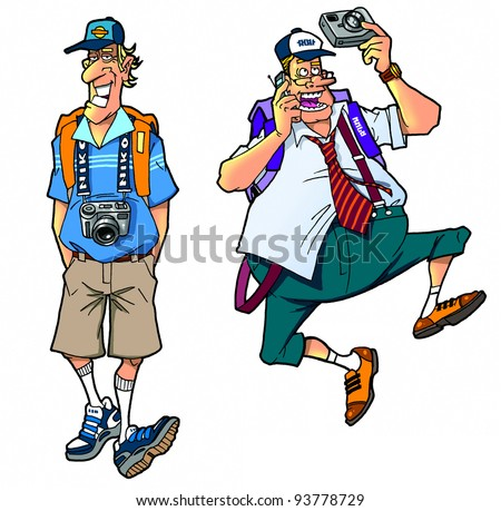 cartoon tourists, set 3 - stock photo