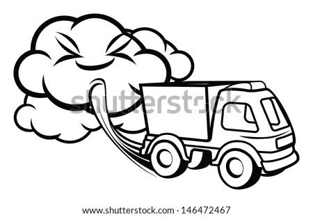 Cartoon truck blowing exhaust fumes - stock photo