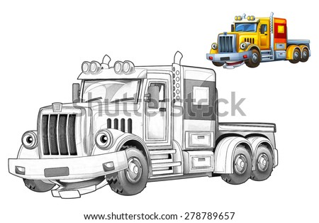Cartoon truck - coloring page - illustration for the children - stock photo