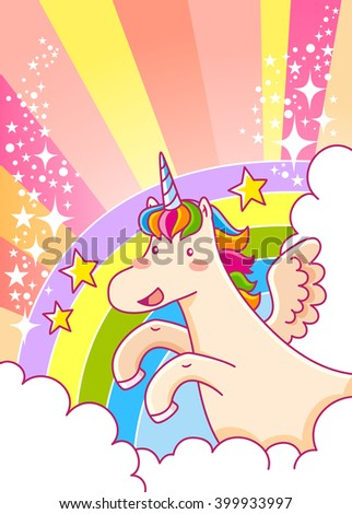cartoon unicorn flying over the rainbow with glitters and space for text - stock photo