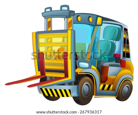 Cartoon vehicle - forklift - caricature - illustration for the children - stock photo