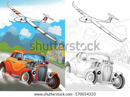 Cartoon vehicle - illustration for the children - stock photo