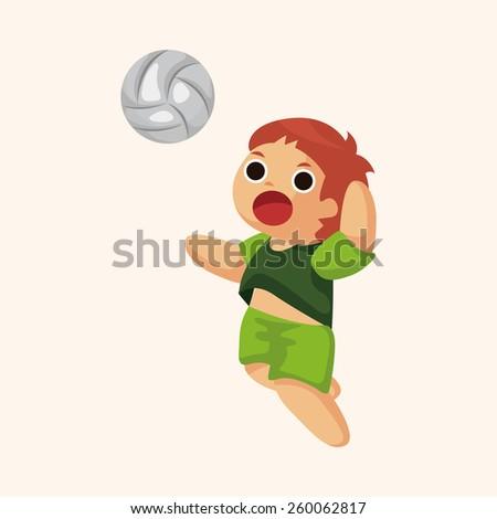 cartoon volleyball player  - stock photo