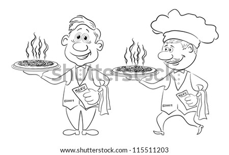 Cartoon waiters deliver a delicious hot pizza to the client, black contour on white background - stock photo