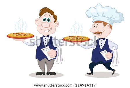 Cartoon waiters deliver a delicious hot pizza to the client, isolated on white background - stock photo