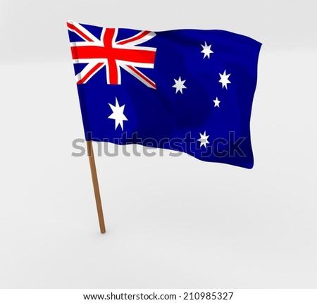 cartoon waving flag in flagpole of australia - stock photo