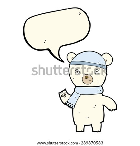cartoon waving polar bear with speech bubble - stock photo