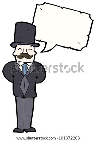 cartoon wealthy man in top hat - stock photo
