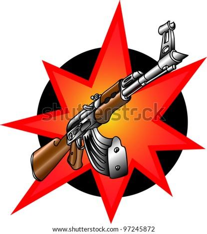 Cartoon weapons, automate - stock photo