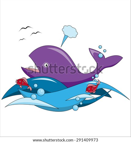 Cartoon whale and fish swim in the ocean - stock photo