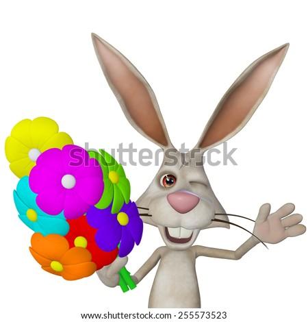 cartoon white rabbit with flowers - stock photo