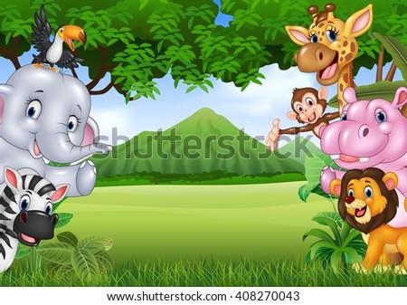 Cartoon wild animals with nature landscape background - stock photo