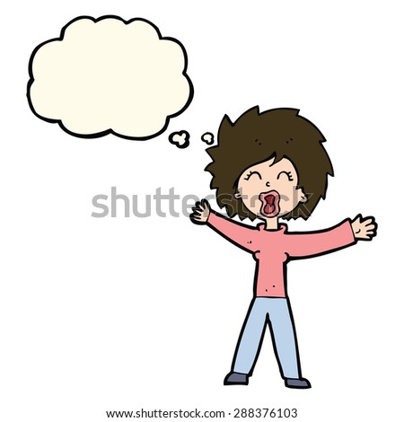 cartoon woman shouting with thought bubble - stock photo
