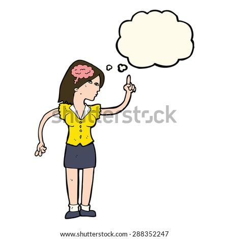 cartoon woman with clever idea with thought bubble - stock photo