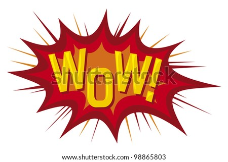 cartoon - wow (comic book) - stock photo