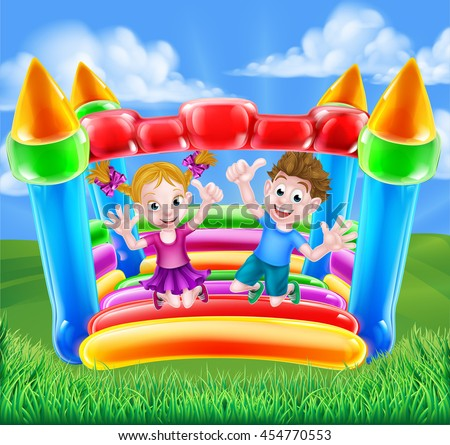 Cartoon young boy and girl having fun jumping on a bouncy castle - stock photo