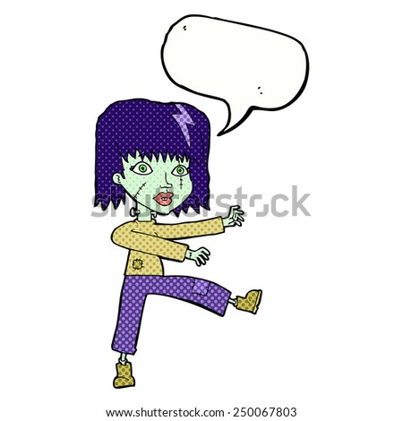 cartoon zombie girl with speech bubble - stock photo