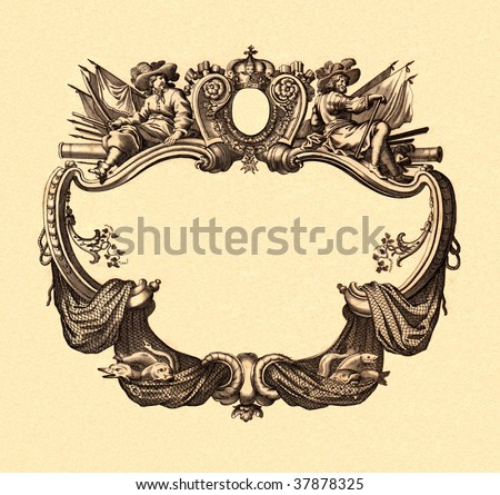 Cartouche of an ancient map - stock photo