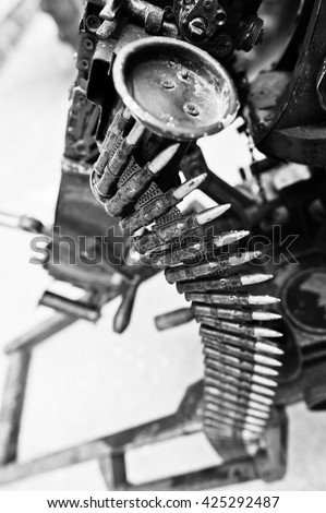 Cartridge belt of ammo at machine gun.  - stock photo