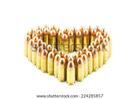 cartridge made heart on white background. - stock photo